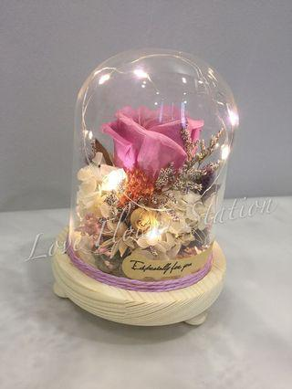 Glass Design with Preserved Rose and Dried Flower / Birthday Gift / Perserved Rose