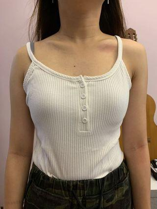 Sleeveless Half-Buttoned Top (White and Black)