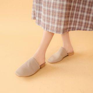 🚚 復古方頭針織穆勒拖鞋/杏39(偏小)/奶奶鞋 半拖 低跟鞋 韓尚【alin美妝雜貨】
