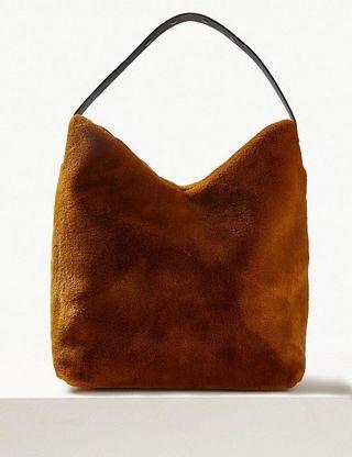 Faux Fur Shoulder Bag Brown
