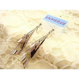 全新日本夾式耳環玫瑰金+銀