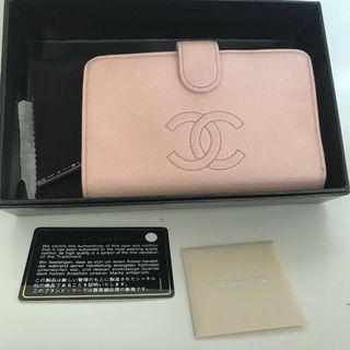 Chanel Wallet L Zip Pink Caviar
