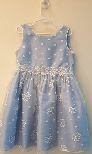 Girl Dress - light blue with embroidered flowers