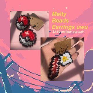 Melty beads earrings'