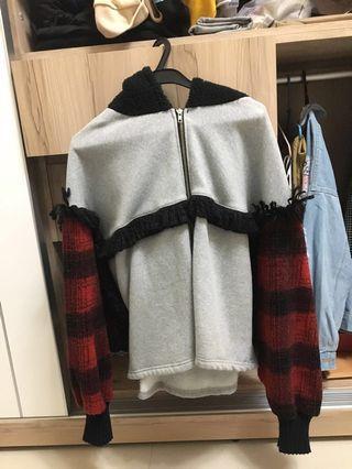 🇰🇷正韓 拼袖刷毛羊羔毛連帽外套