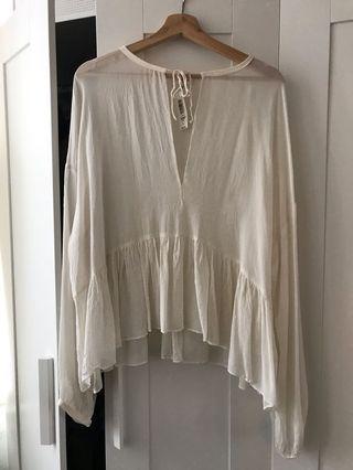 Aritzia Wilfred sheer peplum blouse