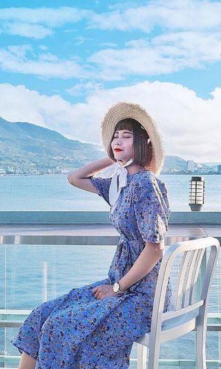韓妞 紫色復古澎袖碎花洋裝