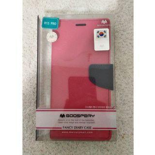 🚚 全新~ OPPO R15 Pro 手機保護套 GOOSPERY FANCY DIARY CASE 桃紅色