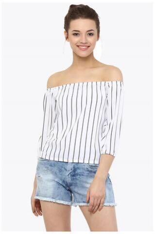 🚚 White Off Shoulder Striped Top