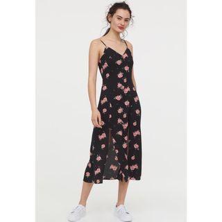 Bnwt H&M front two slit tropical flora print cami floral midi dress