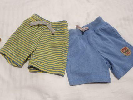 🚚 2 pcs for $5 Mothercare Baby Boy Pocketed Cotton Shorts for 3 to 6mths (Free Mailing)