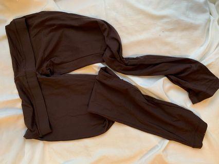 咖色彈性legging