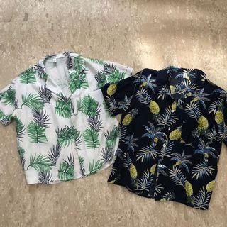 Tropical leaves button up top