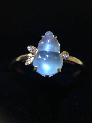 18k金晴底玻璃種葫蘆翡翠戒指(附証書)