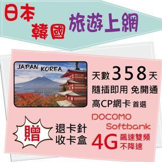 【 日韓 網卡】3天 日本上網 韓國上網 不降速 日本網卡 日本上網 韓國網卡 日本上網卡 韓國上網卡 旅遊卡