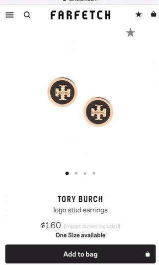 New Tory Burch Fatfetch Blacl logo earrings