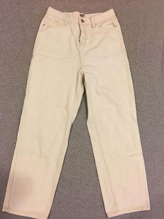 🚚 白杏色直筒褲