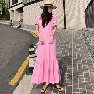 Begonia Pink Long Dress with Pockets