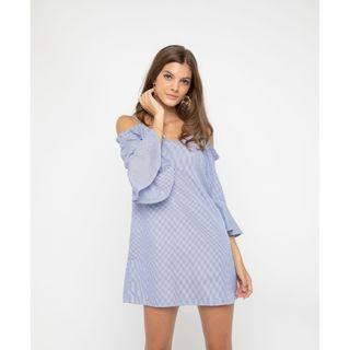 Osmose cold one off shoulder ruffle sleeve pinstripe stripe print shift slip dress