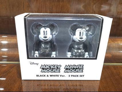 Bearbrick Mickey & Minnie Black and White Version 100%