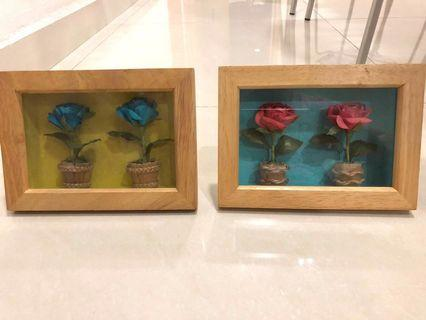 Handmade decorative wooden frames with flowers