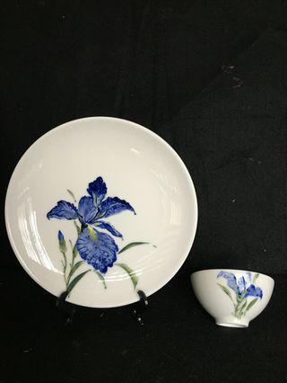 🚚 陶瓷 窯燒 鳶尾 盤子 茶杯
