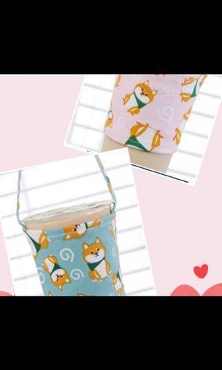 超萌柴犬杯套,綠色粉色各1,可愛又時尚!