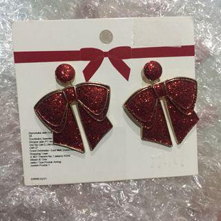 H&M Anting Earrings Pita Glitter Merah