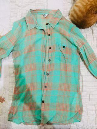 Volcom plaid green shirt