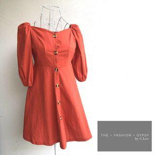Linen dress with front buttons