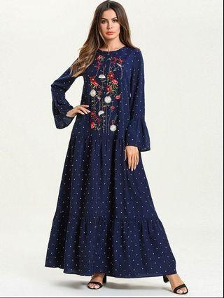 Turkish Style Long Flare Embroidery Dress