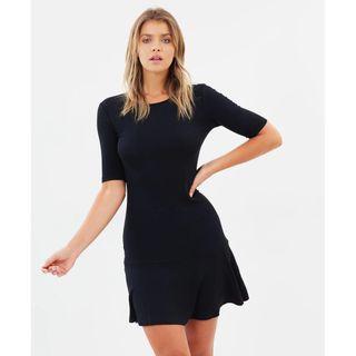 THE ICONIC X ATMOS&HERE Essential Drop Waist Dress Black Classic LBD Mini Tennis