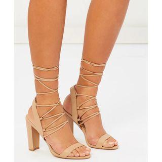THE ICONIC X DAZIE Sienna Lace-Up Heels Nude Beige Strappy Block Heel Leather Billini Windsor Smith