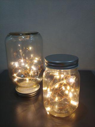 Wedding decor - Mason jars with Copper Fairy Lights