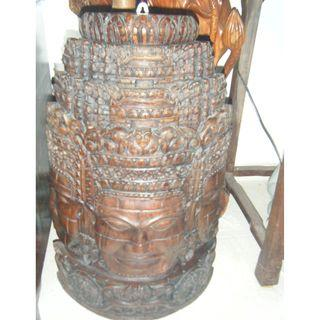 Ancient wooden sculpture 3 faces