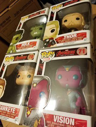 Funko POP Marvel Age of Ultron 68 Hulk 69 Thor 70 Hawkeye 71 Vision