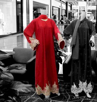 Elegant Red Abaya
