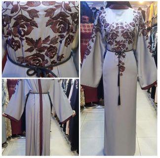Pretty Grey Abaya with Dark Red Embroidery