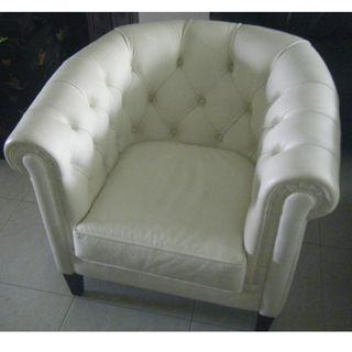 Chesterfield genuine leather white Italian tubchair