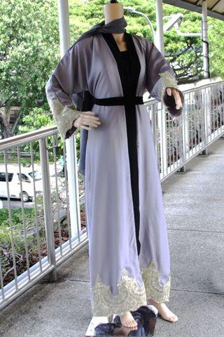 Elegant Gray Abaya with Inner