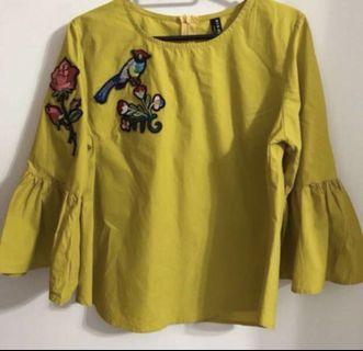 Embroidered Mustard Yellow Blouse
