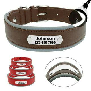 [Pre-Order] Reflective Large Dog Collar Leather Personalized Pet Dog Collars