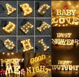 LED Night Lamp English Alphabet Sign Light  Party Decor