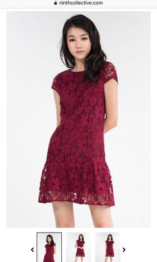 BN Ninth Collective Maisey Lace Dress (wine red)