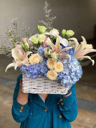 Fresh Flower Basket Arrangement