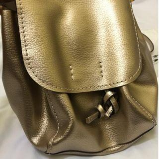 Original Coach Backpack Derby Metallic Rose Gold Pebbled Leather