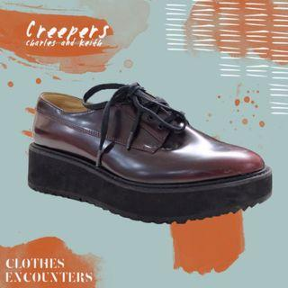Charles & Keith Platform/ Wedges/ Creepers Oxford Shoes Burgundy