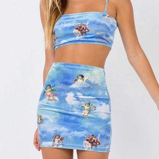 LVINMW Sexy Angel Cupid Printed Bodycon 2 Pieces Sets Fashion 2019 Summer Women Camisole Crop Tops And High Waist Mini Skirts