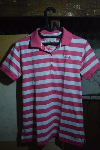 #ramadansale kaos polo stripe pink putih