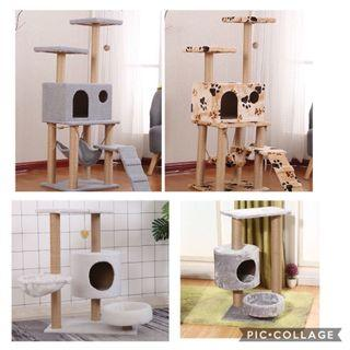 (New!) cat tree scratch pole house bed